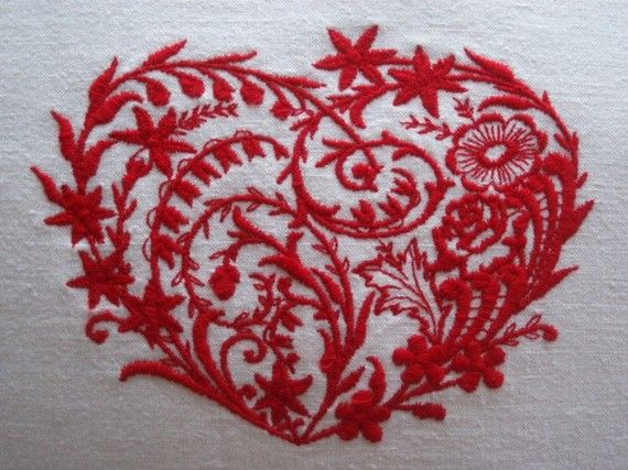 Vintage French Metis Linen Embroidered Heart Cushion Cover Different Colours Available. £27.50, via Etsy.