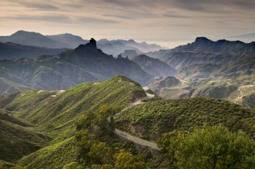 Stock Photo : Canary Islands, Gran Canaria, mountain landscape, elevated view