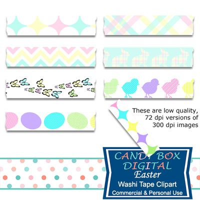 Easter Washi Tape Clipart by Candy Box Digital. Easter eggs, bunnies, chicks. Great for digital scrapbooks, journals and to highlight your pictures on blogs or websites.