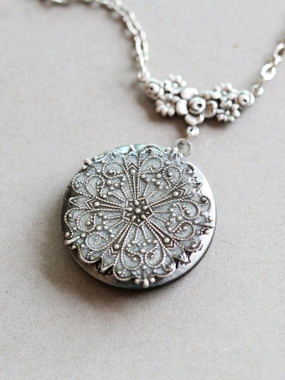 Locket Silver LocketJewelry Gift Pearl White by emmalocketshop