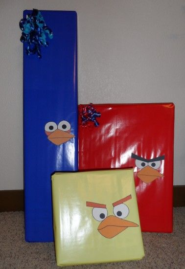 Angry Birds Birthday Presents. great idea but i think ill just put googly eyes on all the presents i wrap with plain paper now