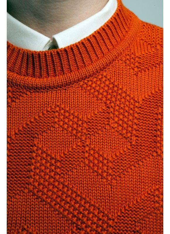 Percival Clothing | Cotton Intarsia Knit - Orange!