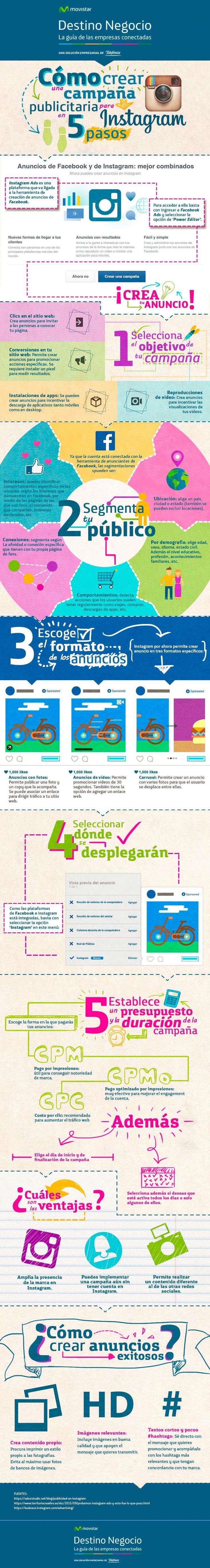 Hola: Una infografía sobreCómo crear una campaña publicitaria en Instagram. Vía Un saludo