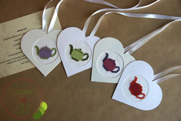Rezept  Apfelpunsch - Teekanne mit Herz Kreuzstich / Cross Stitching Apple Tea Recipe