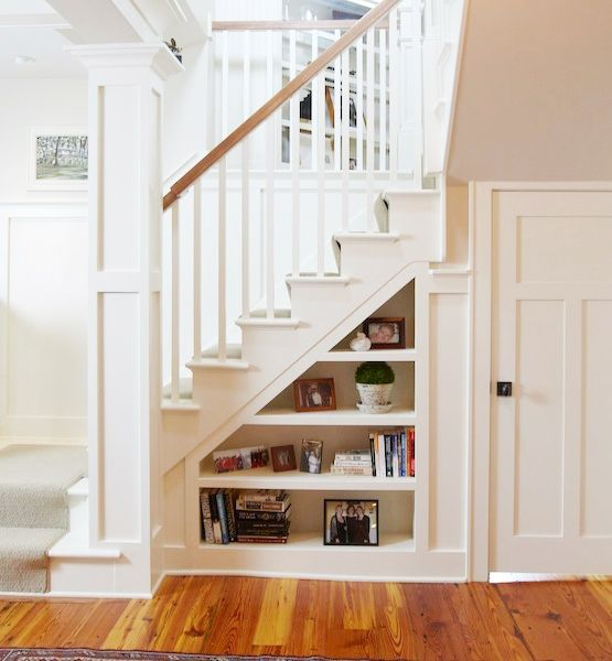 Look for dead space under stairs and in deep walls. There is often room under a staircase for a small closet, powder room, or even built-in shelves for cataloging books, files and other knickknacks that create clutter.ON HOUZZ: Baskets and Cabinets to Help Corral Your Stuff
