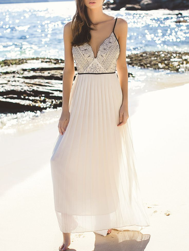 Elegant Embroidered Pleated Chiffon Flowing Dress OFF-WHITE: Maxi Dresses
