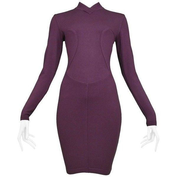 Preowned Pristine Azzedine Alaia Aubergine Knit Body Con Dress 1991 ($1,600) ❤ liked on Polyvore featuring dresses, black, mini dresses, purple long sleeve dress, vintage dresses, short purple dresses, purple dresses and short dresses