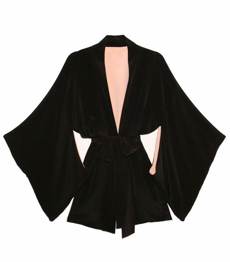 Valentine's Day Lingerie at #ShopBAZAAR: Fleur Du Mal Haori Black Silk Kimono Robe