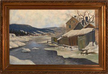 CARL MOE KRISTIANIA 1879 - OSLO 1959  Elv i vinterlandskap Olje på lerret, 66x106 cm Signert nede til venstre: C. Moe