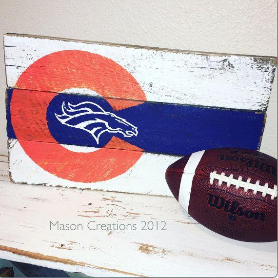 Custom Wood Sign, Denver Broncos Barn wood, Man Cave Decor, Bronco Fan Gift, Dever Broncos Playoff Game, Football Team, Colorado Flag Sign