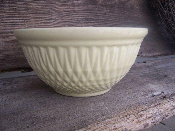 Antique yelloware-vintage stoneware mixing bowl-retro farmhouse mixing bowl    $32