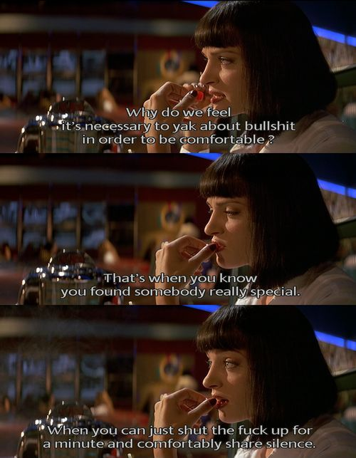 Tarantino captures completely here what it's like to have dinner with a girl you really care about and how you're supposed to act in those social situations.
