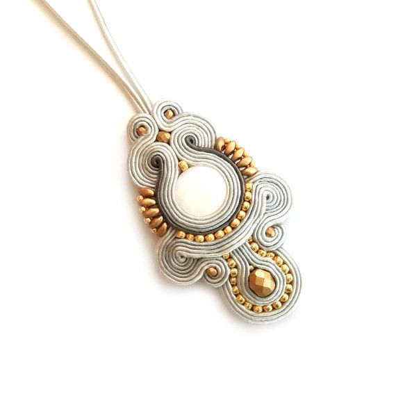 Pearl pendant  Soutache grey pendant  Luxury Jewelry by SaboDesign