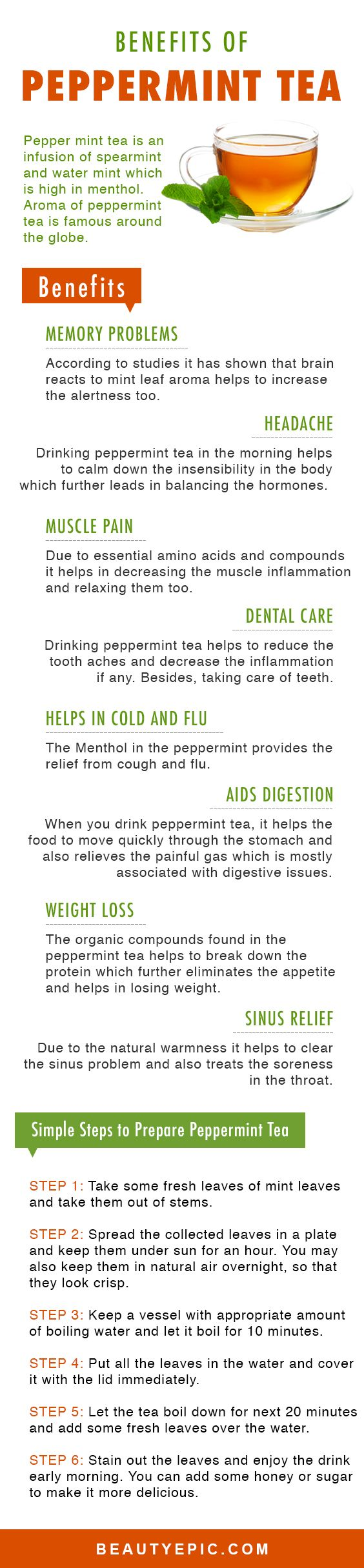 12 Amazing Health Benefits of Drinking Peppermint Tea http://teapause.com/all-about-tea/best-tea-brands/