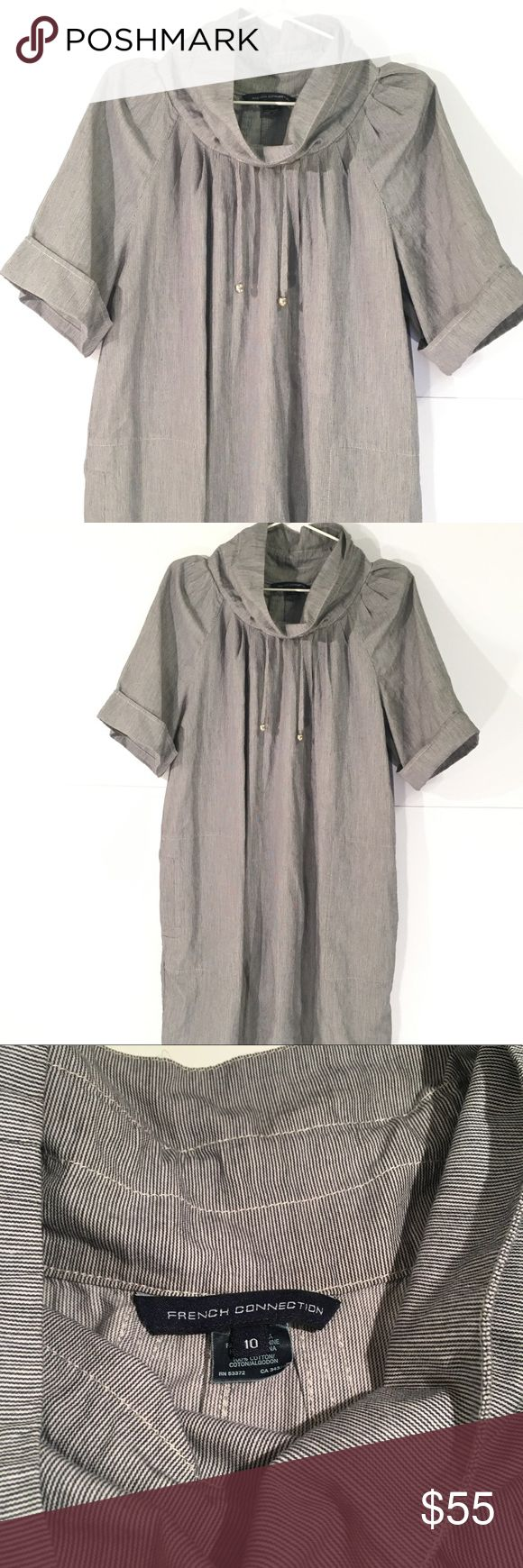French Connection Striped Casual Dress Size 10. Funnel neck dress with pockets. Very small blue and white stripes that makes the dress looks gray. On trend and perfect for fall! French Connection Dresses