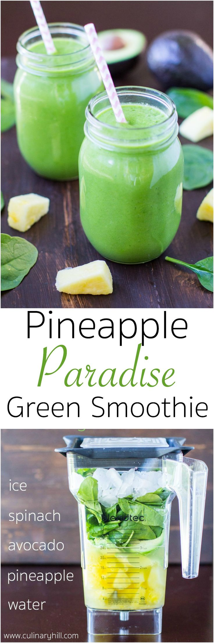 A sweet and fruity green smoothie filled with golden pineapple, smooth avocado, and fresh spinach. An easy way to pack more fruits and veggies into your diet every day!
