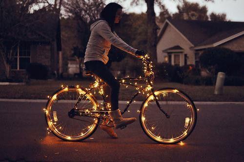 <3Bike Rides, Fairies Lights, Holiday Lights, Christmas Lights, String Lights, Fairy Lights, Bikes Riding, Riding A Bikes, Bikes Lights