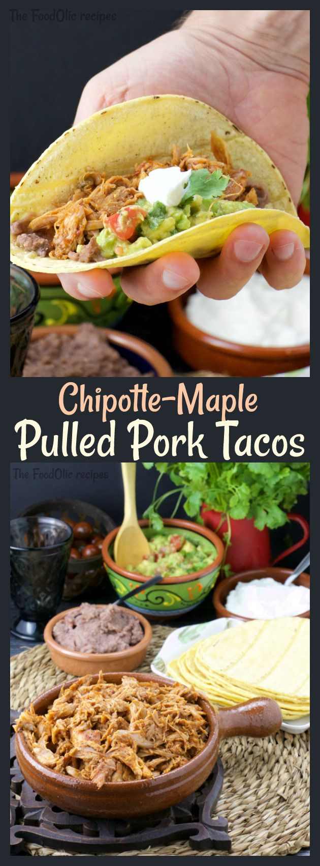 Extra tender Chipotle-Maple Pulled Pork cooked sous-vide served with fresh guacamole, black bean paste, corn tortilla and sour cream for a hot and sweet Mexican night! #tacos #mexican #pulledpork (Mexican Chicken Tenders)