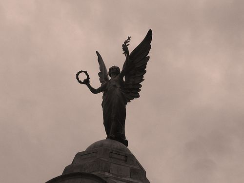 https://flic.kr/p/2CraLp | Angelic in Sepia | Sepia version of a previously uploaded photograph - statue located in Basingstoke town centre, near Memorial Park