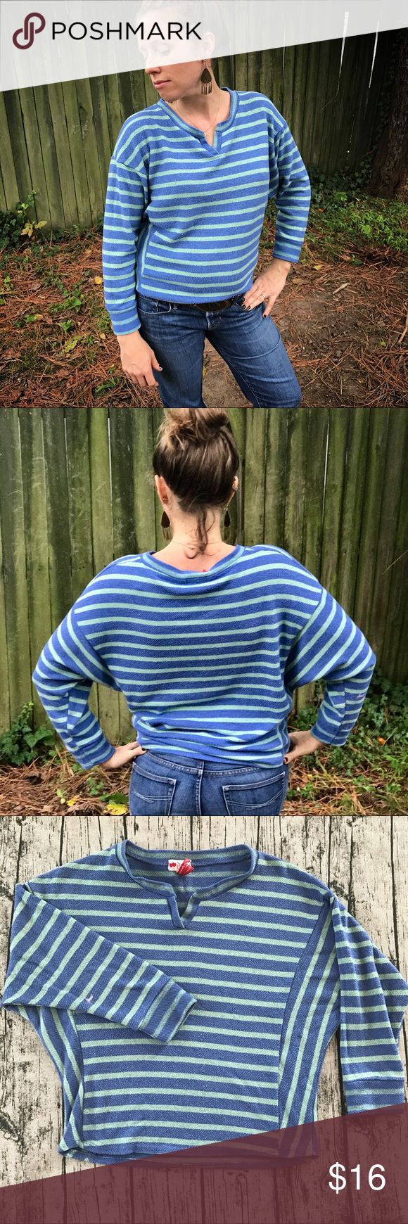 [Poof!] Blue Striped Top [Poof!] Blue Striped Top  Small bleach stain on back and front of one arm (pictured - price reflects damage.) Size Large. The first picture reflects the truest color.  •Long Sleeved Top, Sweater, Striped• Poof! Tops