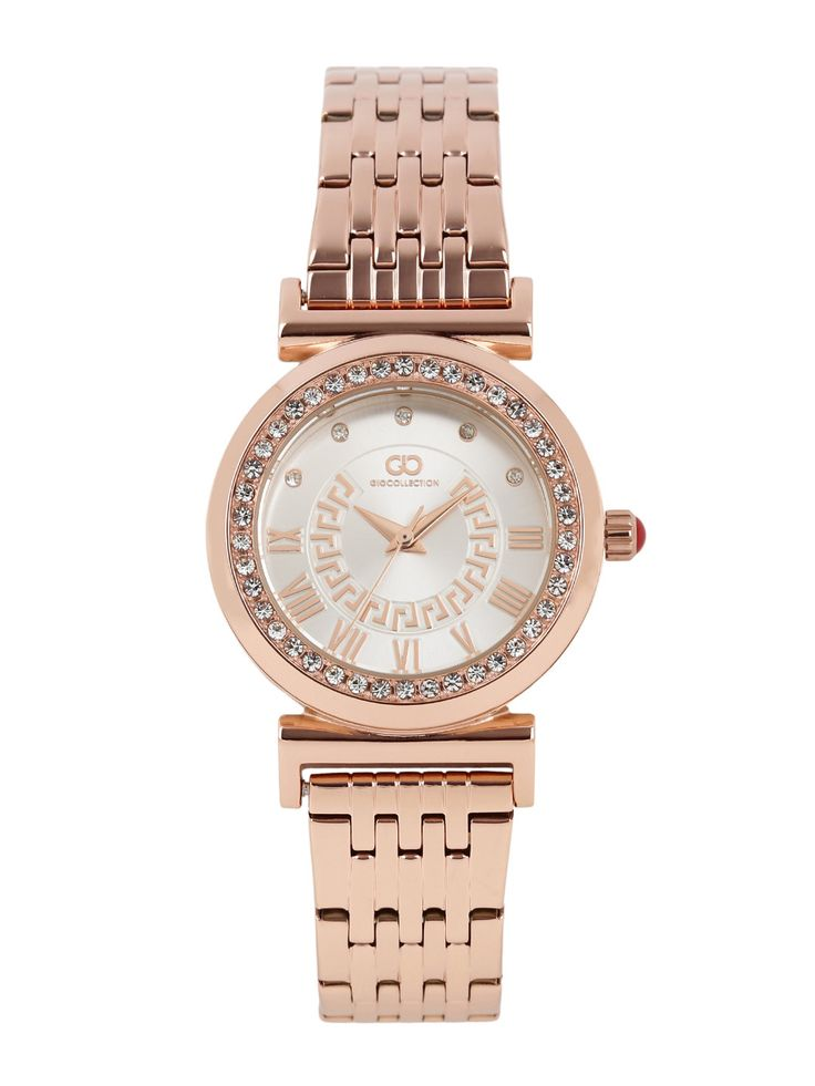 GIO COLLECTION Golden Diamond Embellished Analog Watch G2020-44
