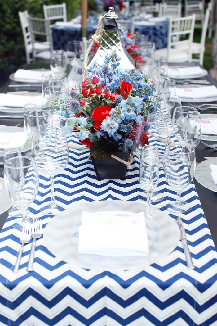 Blue Chevron Table Runners For A Nautical Baby Shower