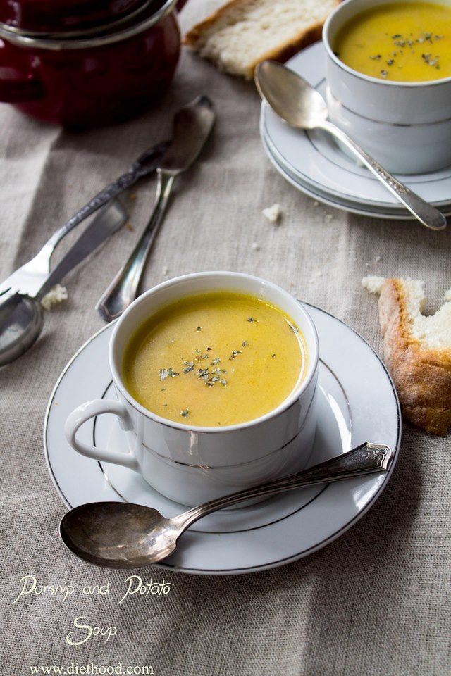 Parsnip and Potato Soup   www.diethood.com   A recipe for a homemade, creamy, slightly sweet, Parsnip and Potato Soup   #recipe #soup #dinner #parsnips #potatoes