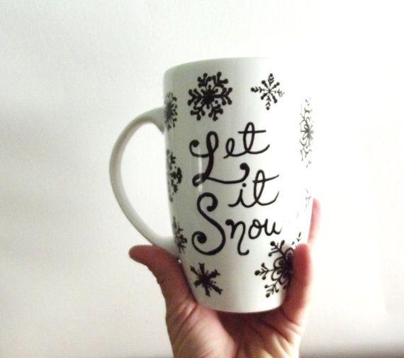Snowflake Christmas Mug  Single Hand Painted Mug by ThePaintedMug, $24.95
