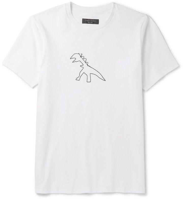 Rag & bone Rex Embroidered Cotton-Jersey T-Shirt