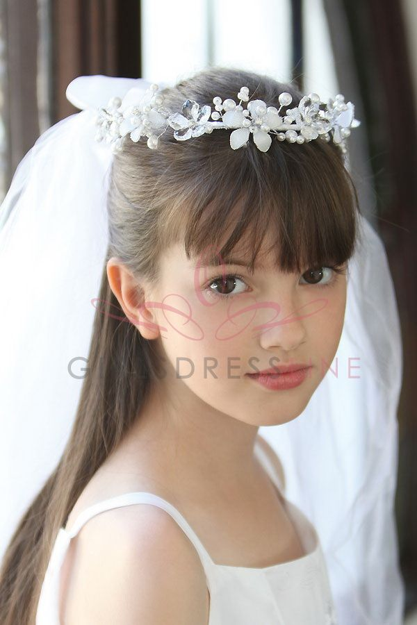 Pearl and crystal head piece with pencil edge communion veil MVL9100 $27.95 on www.GirlsDressLine.Com
