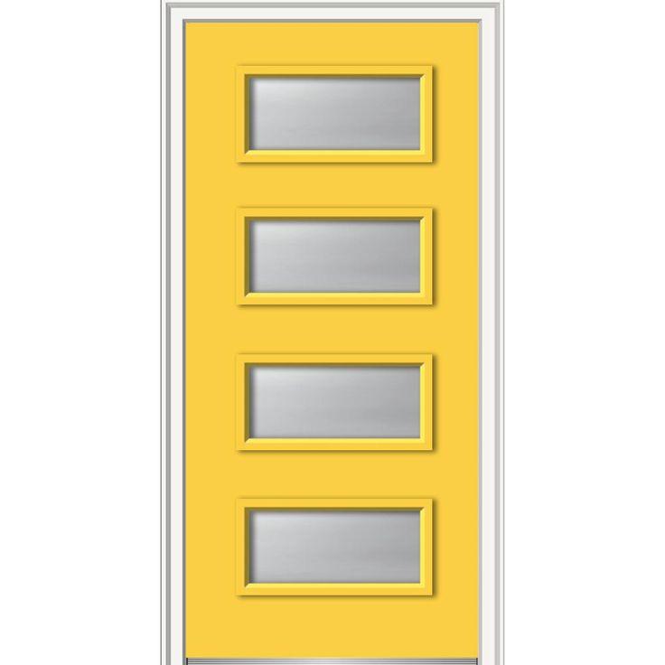 Milliken Millwork 32 in. x 80 in. Celeste Clear Low-E Glass Left-Hand 4-Lite Eclectic Painted Fiberglass Smooth Prehung Front Door, Yellow Flash