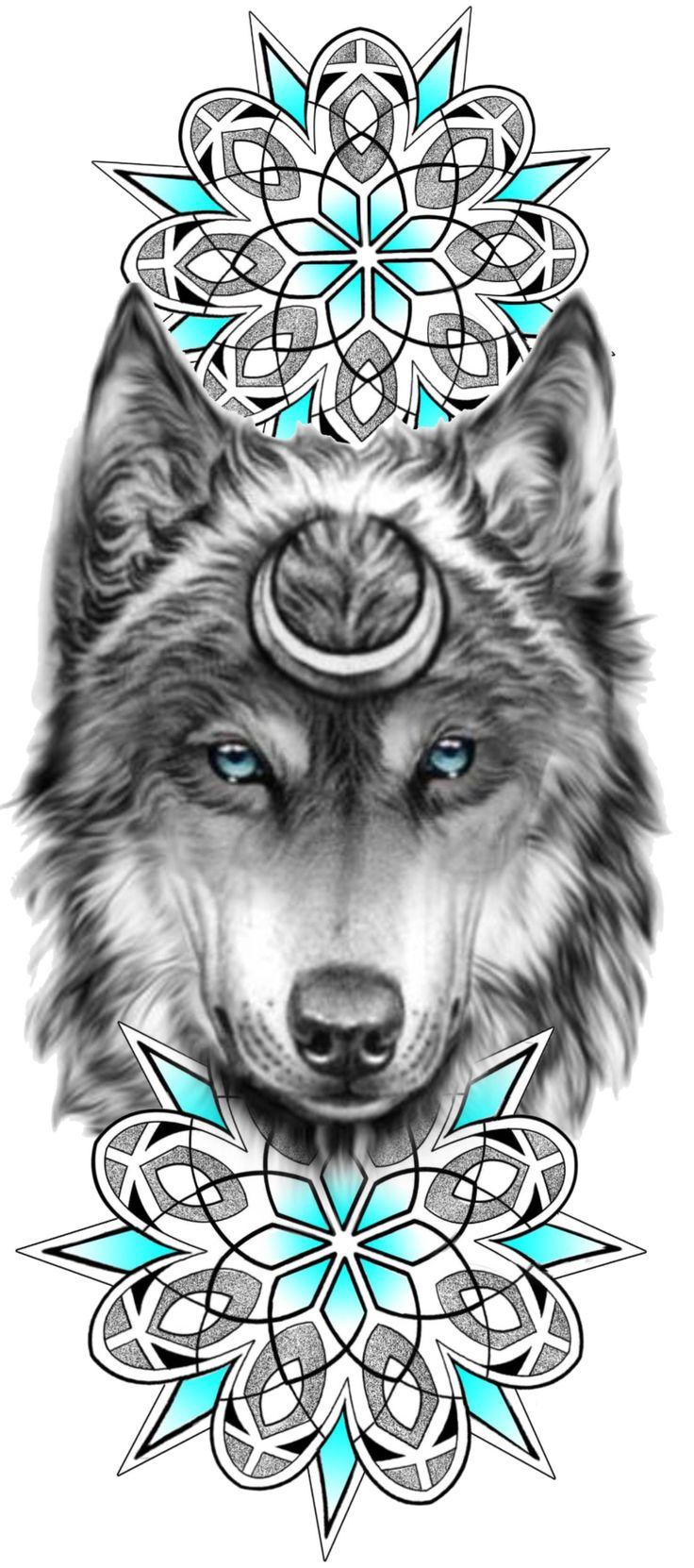 Wolf Tattoos, Animal Tattoos, New Tattoos, Small Tattoos, Henna Tattoo Designs, Flower Tattoo Designs, Flower Tattoos, Mandala Wolf, Wolf Tattoo Design
