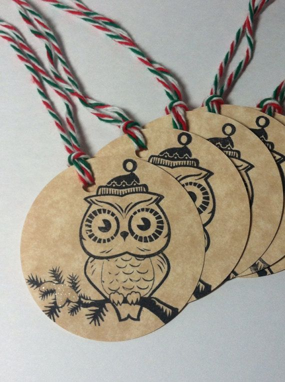 Winter owl tags set of 6 Christmas winter owls