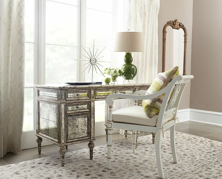 Love The Green Lamp On The Mirrored Desk Sense Sational