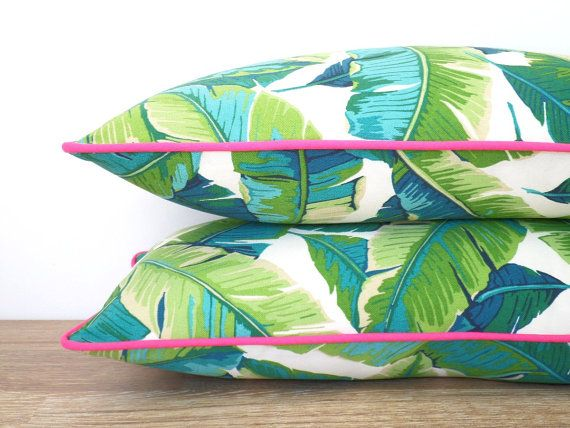 Tropical outdoor pillow cover 20x11, palm leaf pillow pink piping, green outdoor cushion palm tree, coastal cushion, pink outdoor pillow