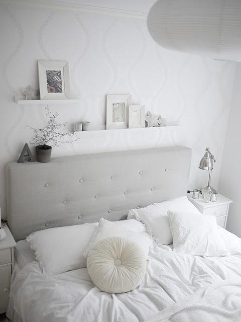 Grey headboard + picture shelves