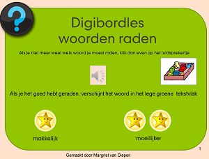 Digibordles woorden raden thema school. Telkens hoor je een woord uitgesproken in klankgroepen. Kun je raden welk woord dat is?