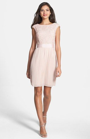 Ted Baker London Reversible Lace & Chiffon Dress available at #Nordstrom - Mother of Bride dress in blush