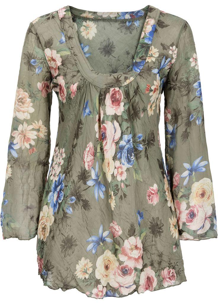 Блузка, RAINBOW, хаки в цветочек