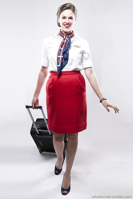 Make this flight attendant costume with items from Thriftique!    Homemade Halloween: Vintage Flight Attendant Costume on What I Wore by What I Wore, via Flickr