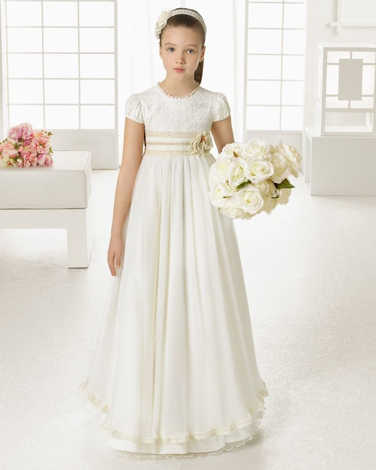 Empire A-line Jewel Neck Lace Bodice Shirred Tulle First Communion Dress