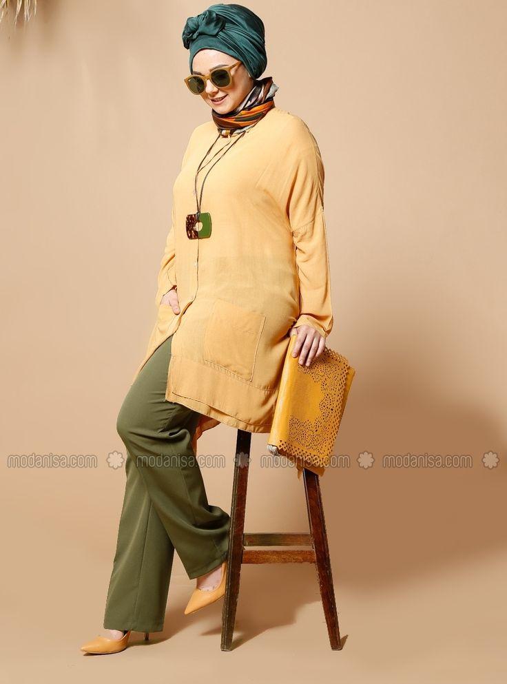 Classic Pants - Khaki - Plus Size Pants - Modanisa