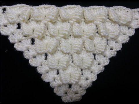 yakadan başlama üçgen şal yapımı videosu  tığ işi  /Crochet : Punto en Relieve Combinado - YouTube