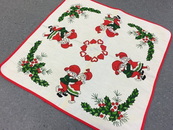 Vintage Swedish Christmas Tablecloth Scandinavian Hand Printed Table Linen For Holiday Decoration Dancing Boys And Girls Holly Branches Christmas Table Cloth Vintage Tablecloths Swedish Christmas