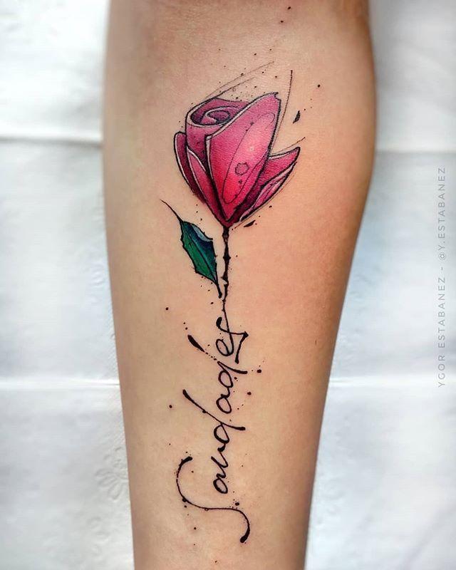 Und namen tattoo mit blumen Namen Tattoo