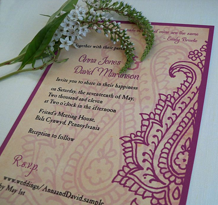 Paisley wedding invitation card by Artful Beginnings