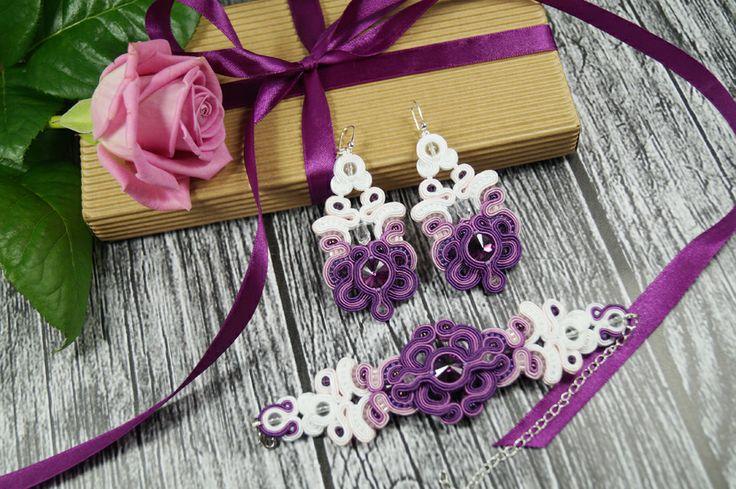 "Komplet biżuterii ślubnej sutasz ""Violet & White"" http://wedding.eva-sutasz.eu/jewelrysets/komplet-bizuterii-slubnej-sutasz-violet-white/"