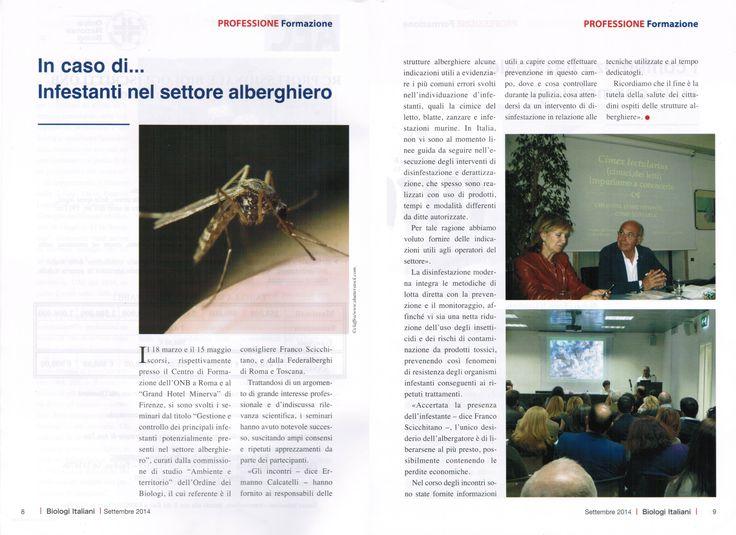 """Rivista -BIOLOGI ITALIANI- settembre 2014. Seminario """"Infestanti nel settore alberghiero"""""""