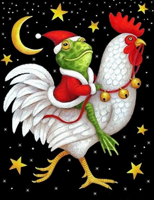 Christmas Frog Riding Christmas Rooster With Black Background  By Artist Stephanie Stouffer.......So Cute!!