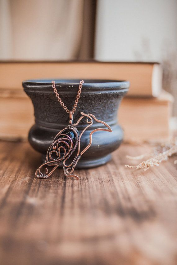 Raven necklace  wire copper jewelry pendant by UrsulaJewelry